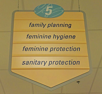 Euphemism - Sign in a Rite Aid drugstore using common American euphemisms for (from top) contraceptives, douches, tampons, and menstrual pads, respectively