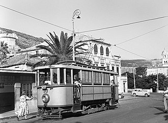Trams in Dubrovnik - Tram No. 10 at Pile in 1952
