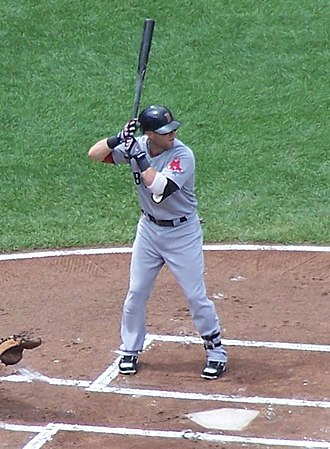 Dustin Pedroia - Dustin Pedroia bats against the Baltimore Orioles, August 2, 2009.