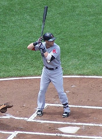 Dustin Pedroia at the bat