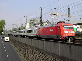 EuroCity - German Class 101 locomotive pulling a EuroCity train consisting of Swiss and German coaches