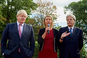 Paolo Gentiloni - Gentiloni with Boris Johnson and Federica Mogherini in September 2016.