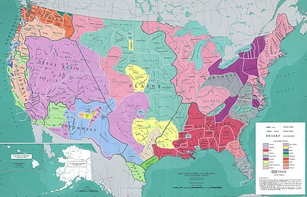 MAP of American Indians language groups and major tribal boundaries: in the territorial claims of the Thirteen Colonies, the Algonquin language in New England, in the Chesapeake Bay region, in the Mississippi River Basin south of western Lake Superior and Lake Michigan, and on the northern Florida peninsula; the Iroquoian language south of eastern Lake Ontario and Lake Erie; the southern Appalachians, and northeast modern North Carolina; the Muskogean language in the southeast, 19th century American Deep South.