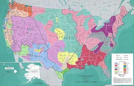 Amerikan intialaisten kieliryhmien kartta, jossa on yksityiskohtaiset heimorajojen rajat: kolmetoista siirtomaa, algonkiinien kieli New Englandissa, Chesapeake Bayn alueella, Mississippi-joen altaalla, läntisen Lake Superior -järven ja Michigan-järven eteläpuolella. ja Pohjois-Floridan niemimaalla;  irokoon kieli itäisen Ontarion järven ja Erie-järven eteläpuolella;  eteläiset appalakkilaiset ja koillis-moderni Pohjois-Carolina;  Muskegan-kieli kaakkossa, 1800-luvun amerikkalainen syvä etelä.