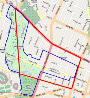 Edgewood Park Historic District - Map showing the official Edgewood neighborhood planning area in red and the Edgewood Historic District in blue.