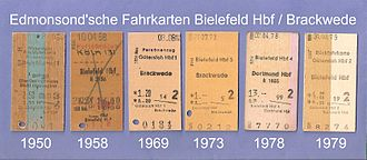 Bielefeld Hauptbahnhof - During the time of the Deutsche Bundesbahn 1950-1979, it issued Edmondson railway tickets for the local services to Brackwede, Gütersloh and Lemgo, as well as long-distance services to Cologne