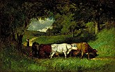 A pastoral oil painting of a shepherd guiding a herd of cows along a country trail surrounded by trees.