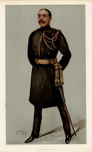 "Sir Edward Ward, 1st Baronet, of Wilbraham Place - ""a Permanent Warrior"". Caricature by Spy published in Vanity Fair in 1901."