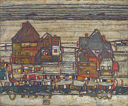 Egon Schiele - Domy z kolorowym praniem (1914)