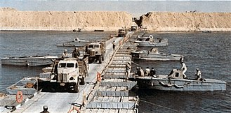 Bar Lev Line - Egyptian vehicles crossing the Suez Canal in the Sinai