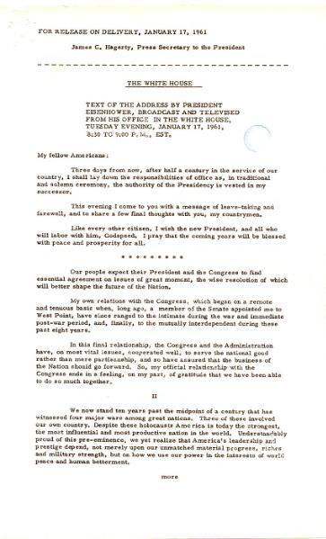 File:Eisenhower Farewell Address press copy.djvu
