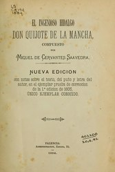 Miguel de Cervantes: Español: El ingenioso hidalgo Don Quijote de la Mancha