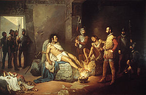 "Cuauhtémoc - ""The Martyrdom of Cuauhtémoc"", a 19th-century painting by Leandro Izaguirre"