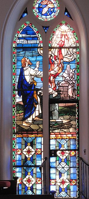 Elijah - Elijah's offering is consumed by fire from heaven in a stained glass window at St. Matthew's German Evangelical Lutheran Church in Charleston, South Carolina