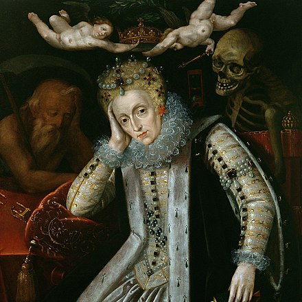 Elizabeth I, painted around 1610, during the first revival of interest in her reign. Time sleeps on her right and Death looks over her left shoulder; two putti hold the crown above her head. Elizabeth-I-Allegorical-Po.jpg