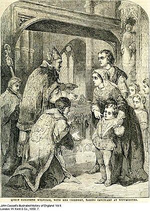 English: Queen Elizabeth Woodville with her da...