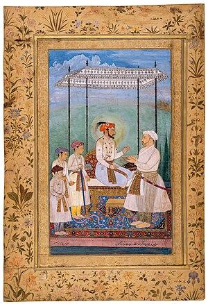 Shah Jahan - Shah Jahan, accompanied by his three sons: Dara Shikoh, Shah Shuja and Aurangzeb, and their maternal grandfather Asaf Khan IV