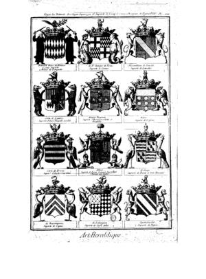 Marc-Antoine Eidous - Planche Art héraldique de l'Encyclopédie, vol. II