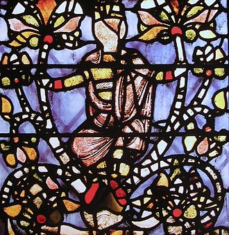Medieval stained glass - Detail of the Jesse Tree panel from York Minster