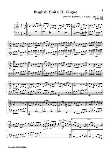 English suite II, gigue - sheet