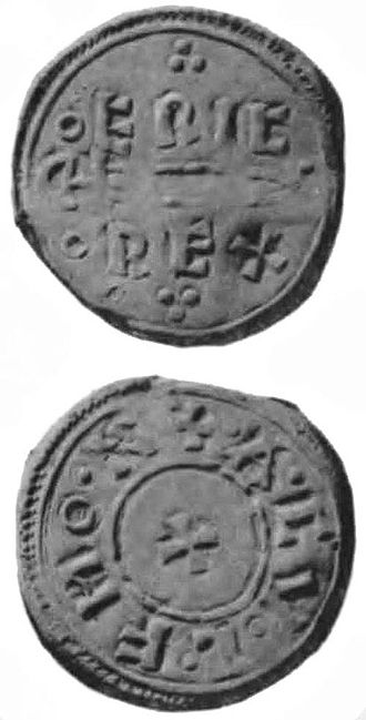 Coin minted at York, type N550, ECM 2007.0059. Obverse: ERIC RE[X] (King Eric). Reverse: [R]ADVLF MON[] (moneyer Radulf). Eric-Rex-coins.jpg