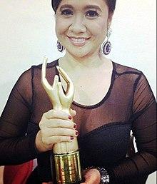 Eugene Domingo accepting Best Actress Award, 2012.jpg