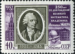 1957 stamp of the former Soviet Union commemorating the 250th birthday of Euler. The text says: 250 years from the birth of the great mathematician and academician, Leonhard Euler.