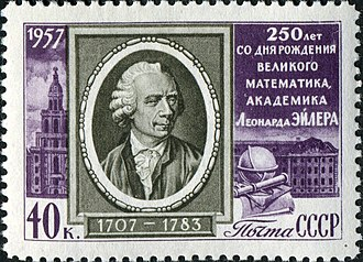 Leonhard Euler - 1957 Soviet Union stamp commemorating the 250th birthday of Euler. The text says: 250 years from the birth of the great mathematician, academician Leonhard Euler.