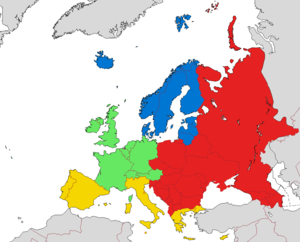 Northern Europe - European sub-regions according to EuroVoc: Blue – Northern Europe Green – Western Europe Red – Eastern Europe Yellow – Southern Europe Grey – Territories not considered part of Europe