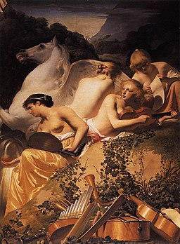 Everdingen, Caesar van - Four Muses and Pegasus on Parnassus - c. 1650