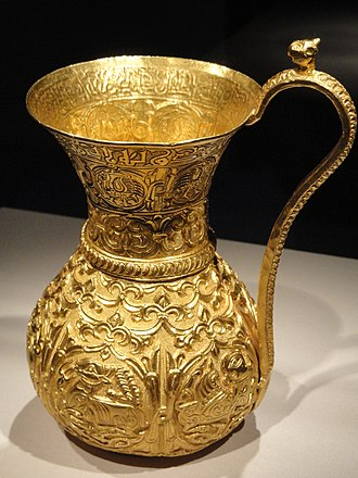 Izz al-Dawla - Gold Ewer inscribed with the name of with name and titles of Abu Mansur Izz al-Amir al-Bakhtiyar ibn Muizz al-Dawla