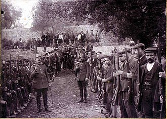 Filiates - Officers of the Greek Army with local volunteers, during the Balkan Wars