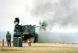 Flakpanzer Gepard - A Gepard firing at the German army's Hohwacht Bay training area (1987)