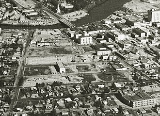 Urban renewal - Aerial view of downtown Fairbanks, Alaska in the early 1960s, showing the area cleared in Alaska's first urban renewal project.