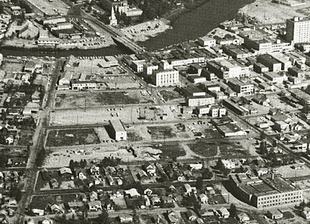 Aerial view of downtown Fairbanks, Alaska in the early 1960s, showing the area cleared in Alaska's first urban renewal project. Fairbanks, Alaska aerial, downtown urban renewal zone, early 1960s.jpg