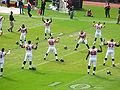 Falcons on field pregame at Atlanta at Oakland 11-2-08.JPG
