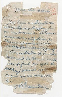 Fotografía del «Falso Henry». El encabezado (mi querido amigo) y la firma (Alexandrine) son de Panizzardi (cuadrícula). El resto es de la mano de Henry.