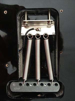 Vibrato systems for guitar - Rear view of synchronized tremolo. Note that there is provision for up to five springs. Only three are fitted here to allow for use of light strings, there being no other adjustment.