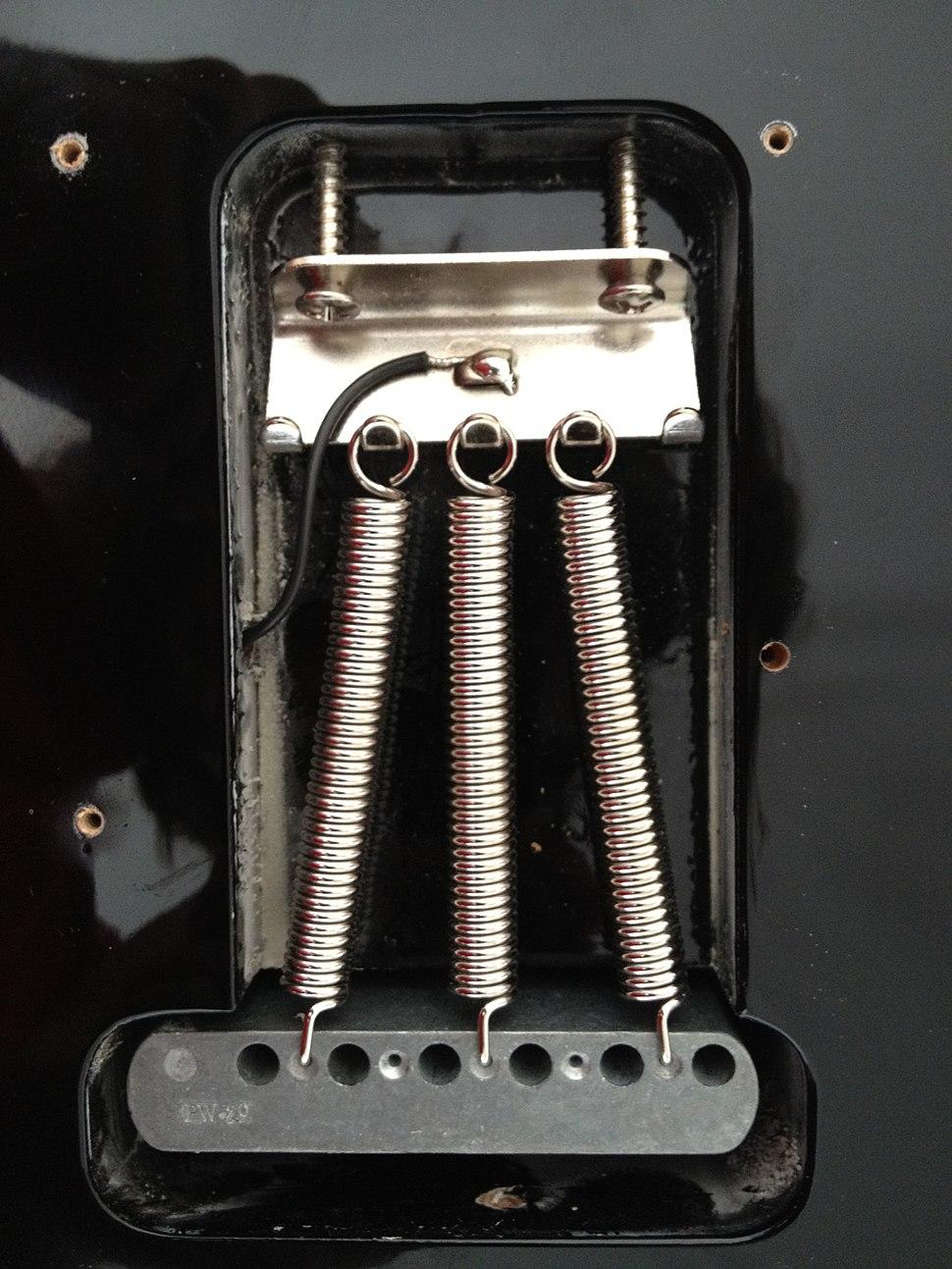 Fender Stratocaster tremolo bridge rear view