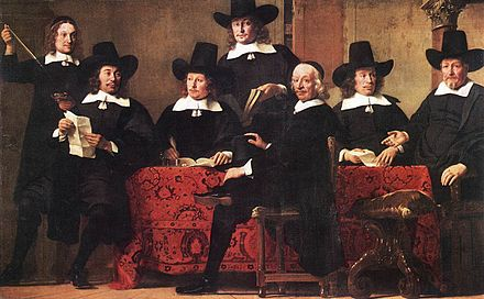 Merchants have sought methods to minimize risks since early times. Pictured, Governors of the Wine Merchant's Guild by Ferdinand Bol, c. 1680. Ferdinand Bol - Governors of the Wine Merchant's Guild - WGA2361.jpg