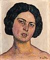 Ferdinand Hodler - Frauenkopf auf gelbem Grund, 1912.jpg