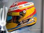 Fernando Alonso 2009 helmet left 2017 Museo Fernando Alonso.jpg