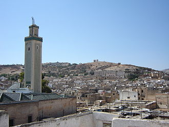 Fez, Morocco - VIew of the old medina, with the minaret of Zaouia Moulay Idriss II on the left, where it commemorates Idris II, the founder of Fez.