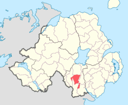 Location of Fews Lower, County Armagh, Northern Ireland.