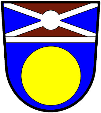 Murrey - Murrey is used on these de Jong arms: Azure, a bezant; a chief per saltire, murrey and azure, filleted argent, over the partition a fillet saltire nowy, also argent.