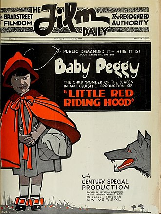 The Film Daily - September 3, 1922 cover of The Film Daily with child actress Baby Peggy