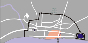 Approximate damage by the evening of Sunday, 2 September.