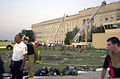Fire trucks and emergency vehicles are parked near the Pentagon Building as firefighters conduct rescue operation hours after American Airlines Fight 77 was piloted by terrorists into the building, during the 010911-N-AV833-0090.jpg