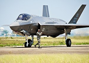 First F-35 to arrive at Eglin AFB gets the order to taxi.jpg