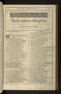 Faksimil av första sidan i The life and death of King John från First Folio, publicerad 1623